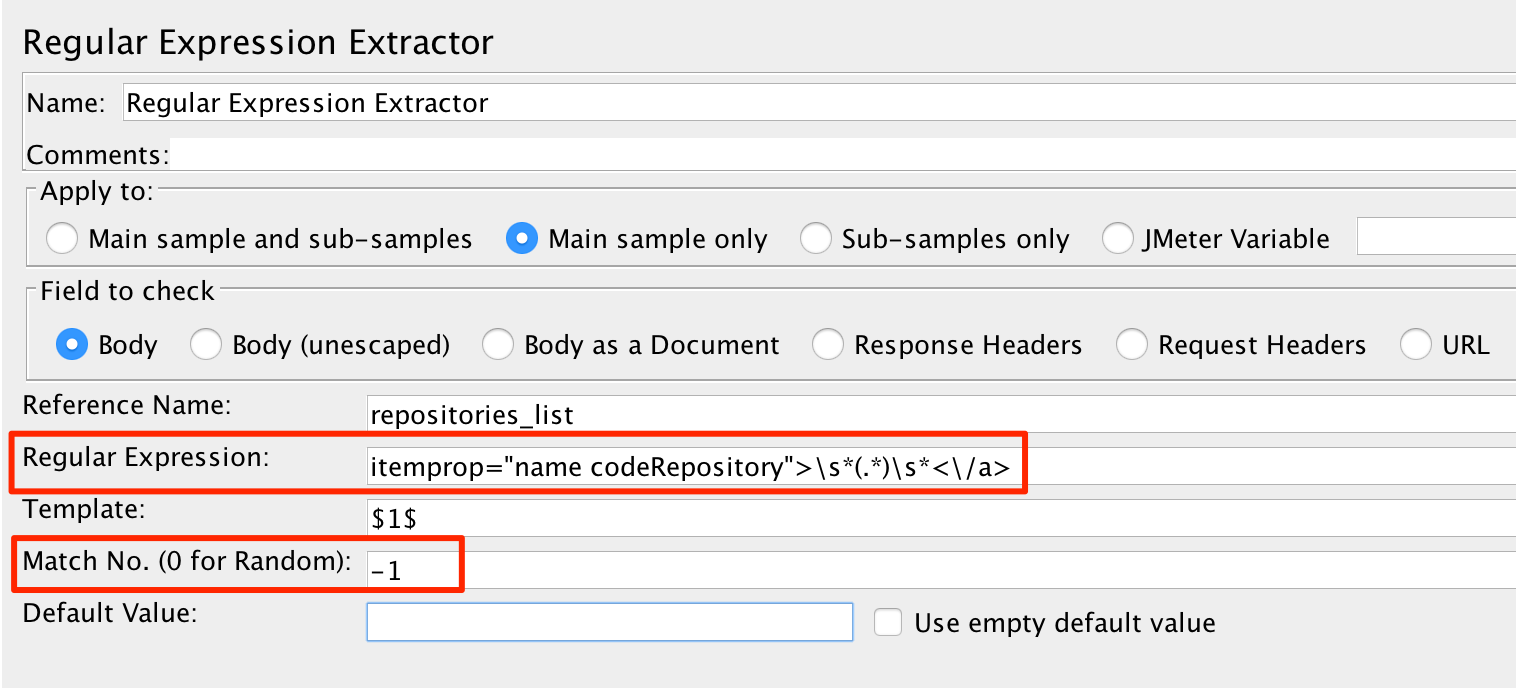 Get repositories page regex extractor