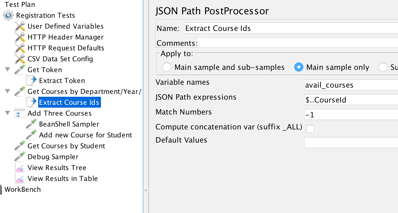 Course Id JSON Path Extractor