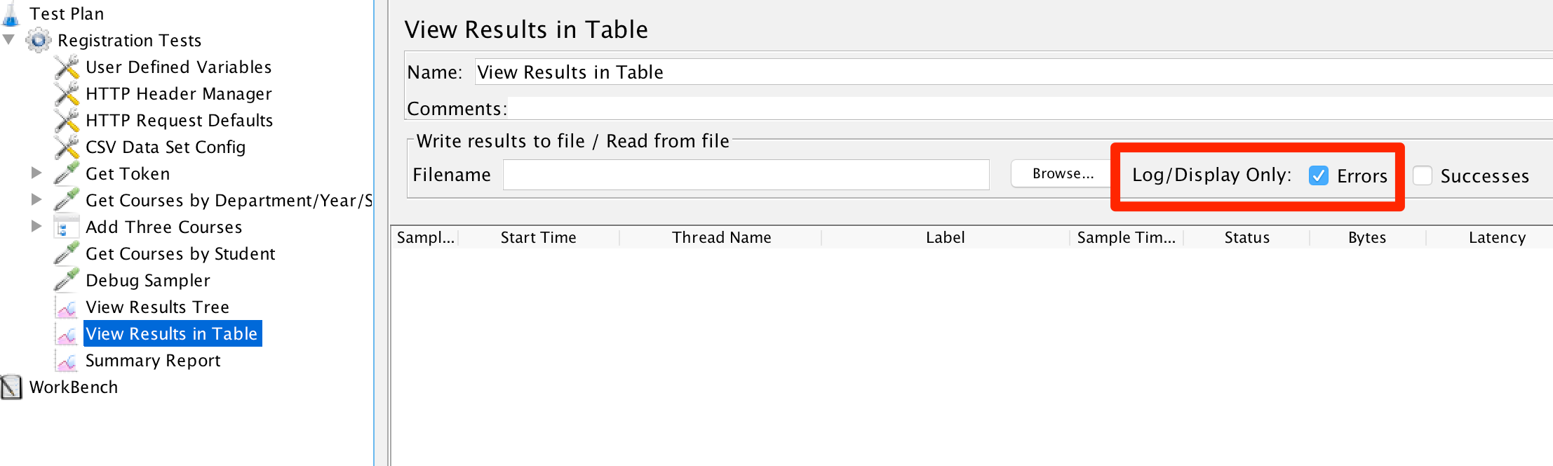 Log Errors Only in View Results in Table