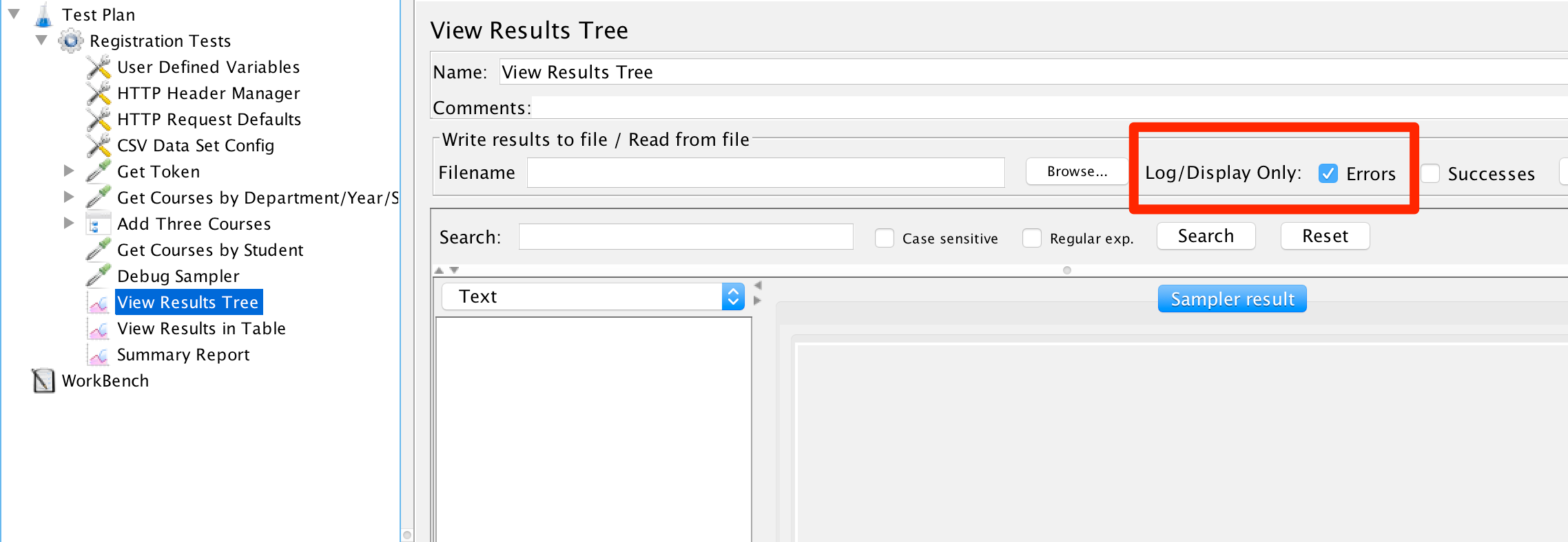 Log Errors Only in View Results Tree